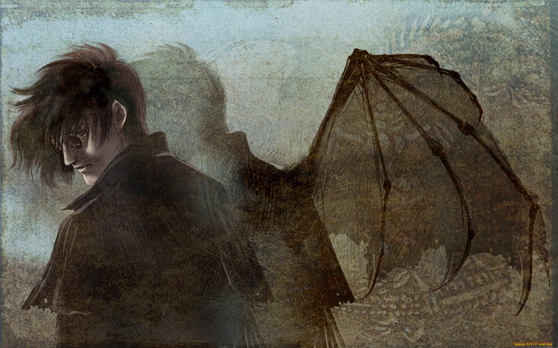 аниме, hellsing, алукард, alucard, дракула, вампир, dracula, крылья